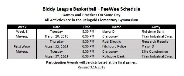 PEEWEE Makeup Game Schedule